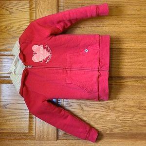 Girls faux fur lined hooded sweatshirt, sz 5/6